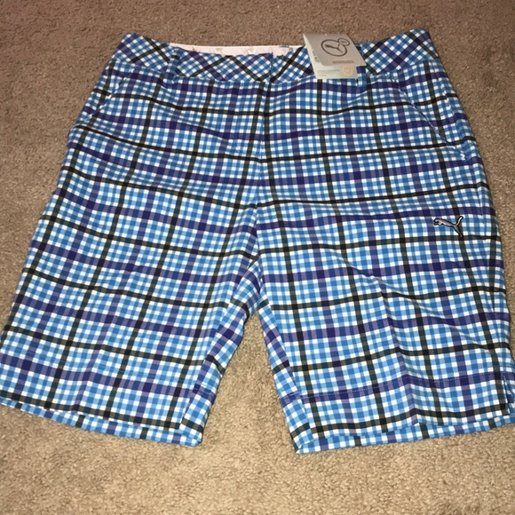 Women s Puma blue plaid golf shorts b918d4613b